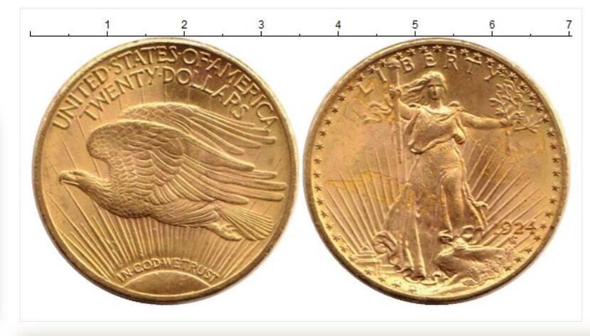 """Монета """"20 доларів. 924. Золото 900""""."""