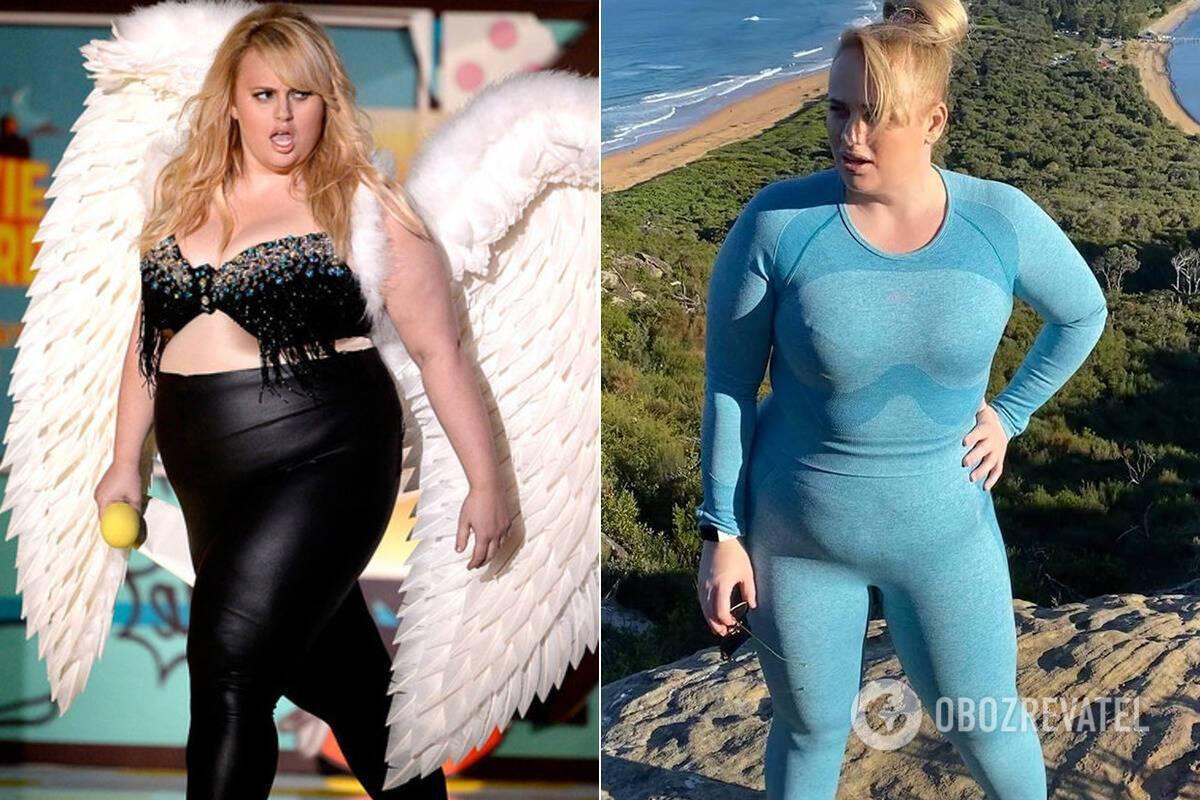 Ребел Уилсон до и после похудения коллаж