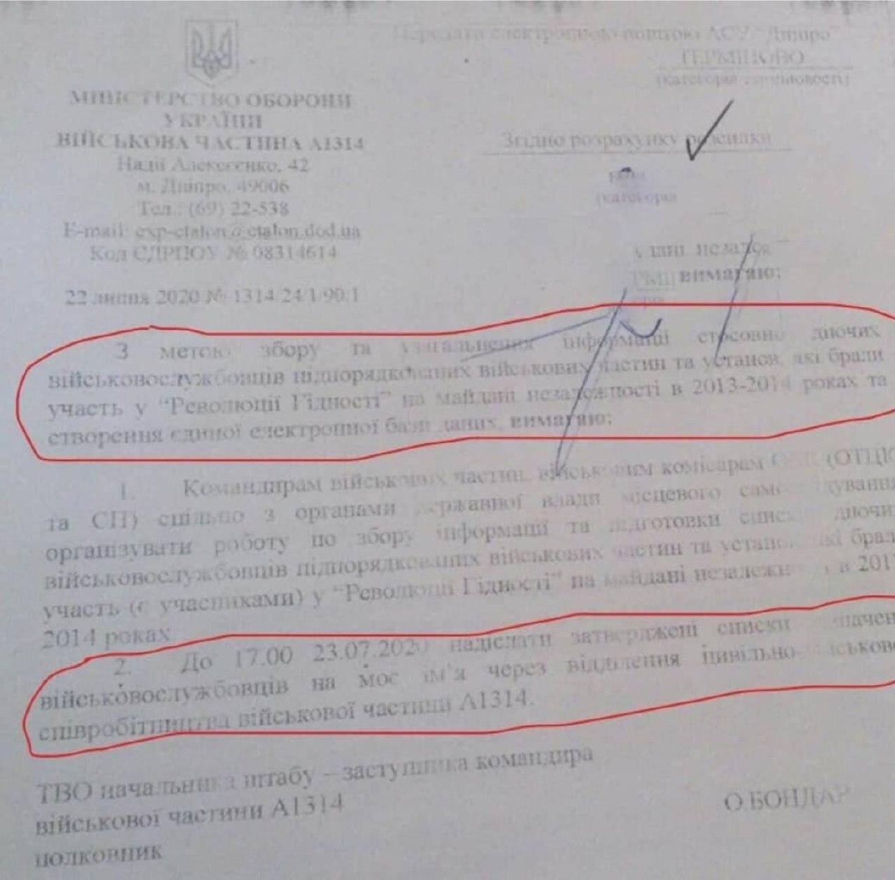 Розпорядження від командування військової частини А1314 (м. Дніпро)