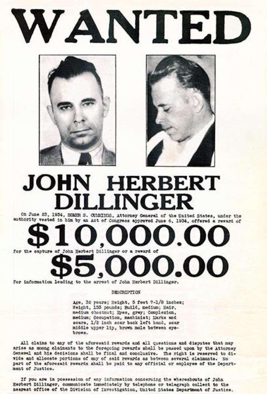 Объявление о розыске Диллинджера