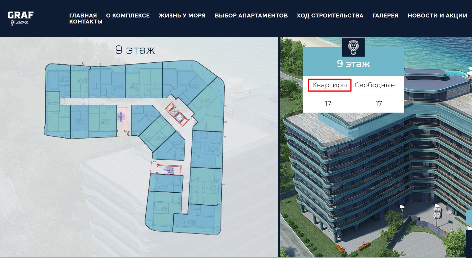 """Скриншот раздела """"выбор апартаментов"""" на сайте """"GRAF у моря"""""""
