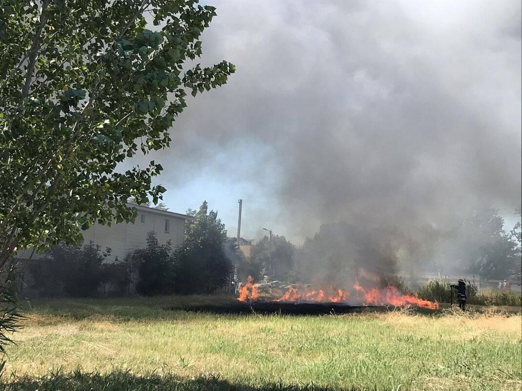 Вогонь поширився на траву біля ділянки.