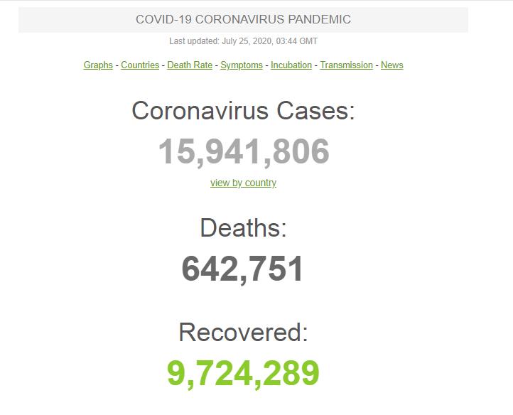 В мире COVID-19 заразились почти 16 млн человек: статистика на 25 июля. Постоянно обновляется