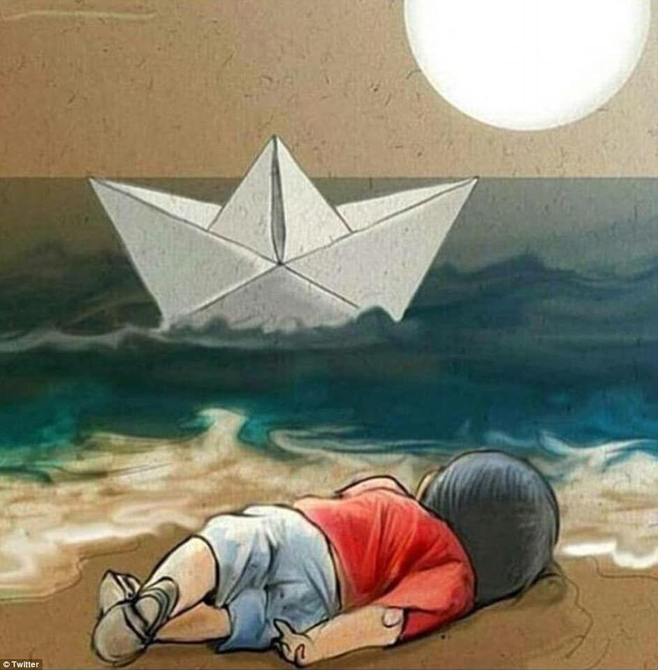 Малюнок на підтримку загиблого сирійського хлопчика