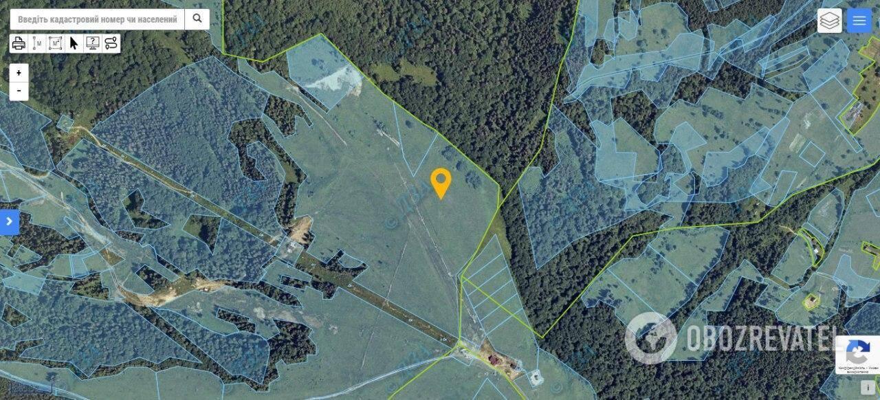 """Скриншот ділянки площею 20 га з публічної кадастрової карти, яка належить ТОВ """"Славскі"""""""