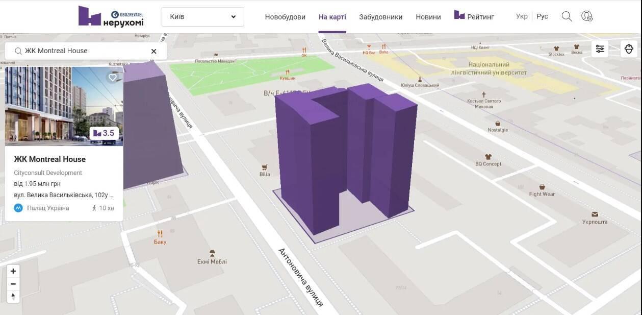 ЖК MONTREAL HOUSE на карті НЕРУХОМІ