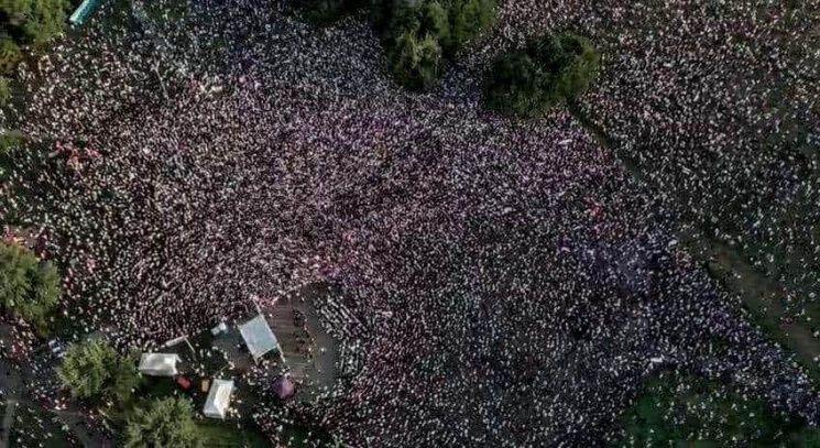 Протесты в Минске, вид с беспилотника