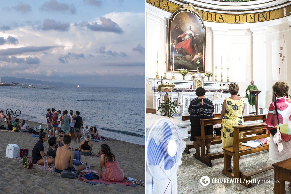 Посещение пляжа менее рискованно с точки зрения подхватить COVID-19, чем поход в церковь