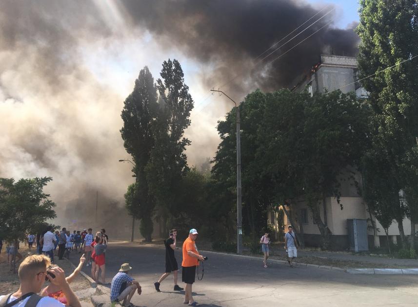 Пожар в Новой Каховке.