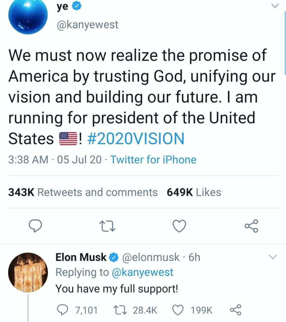 Муж Ким Кардашьян заявил, что будет баллотироваться в президенты США