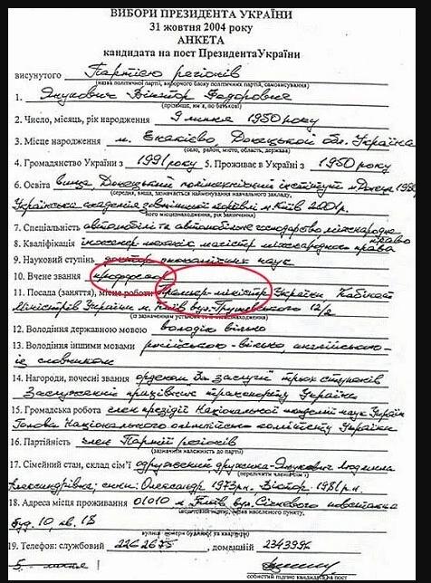 Анкета Януковича