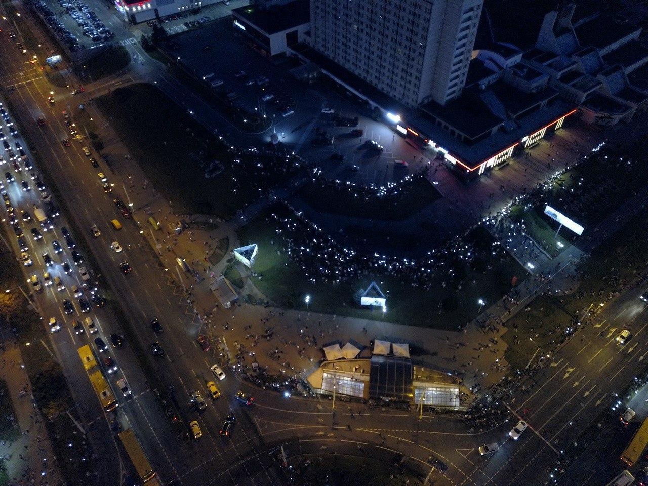 Протест возле станции метро Пушкинская с квадракоптера