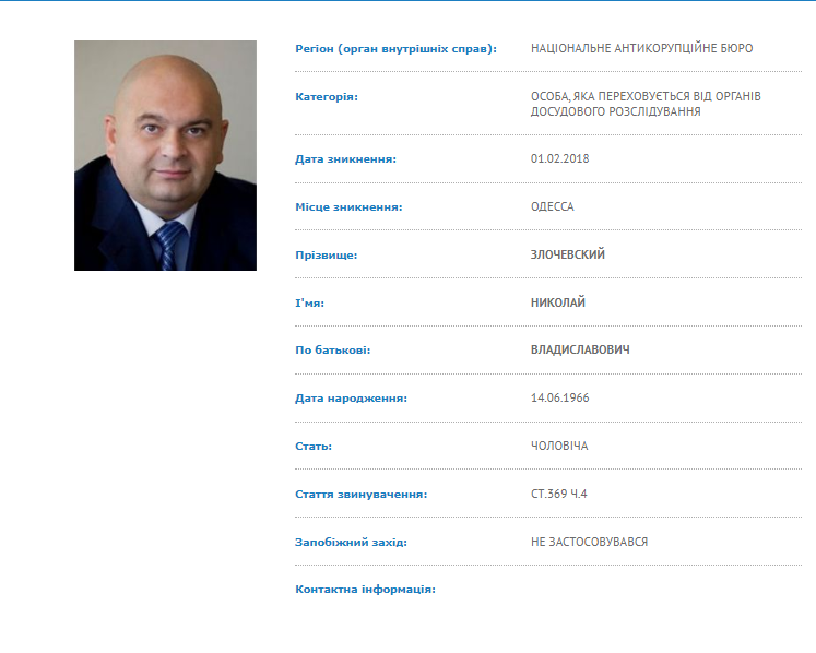 Николая Злочевского объявили в розыск