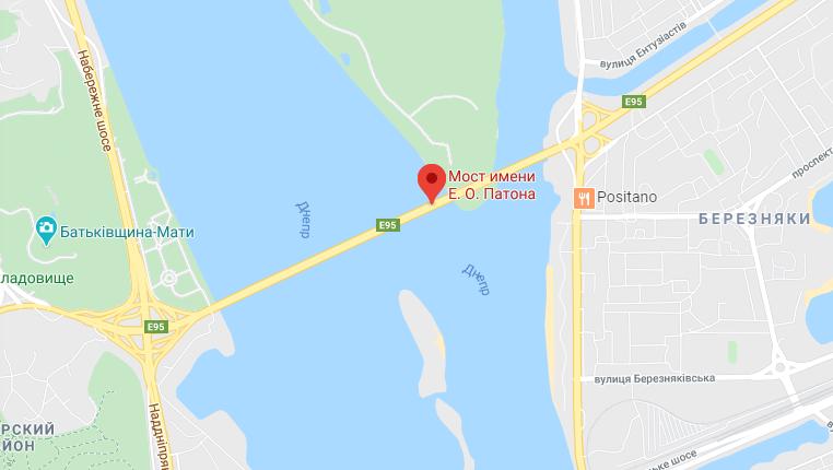 ДТП у Києві на мосту Патона. Карта
