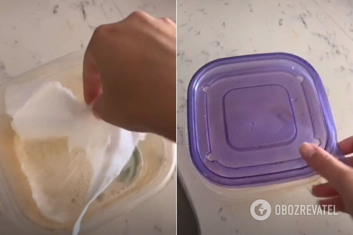 Для очистки контейнера от жира понадобятся средство для мытья посуды и кусочки бумажного полотенца