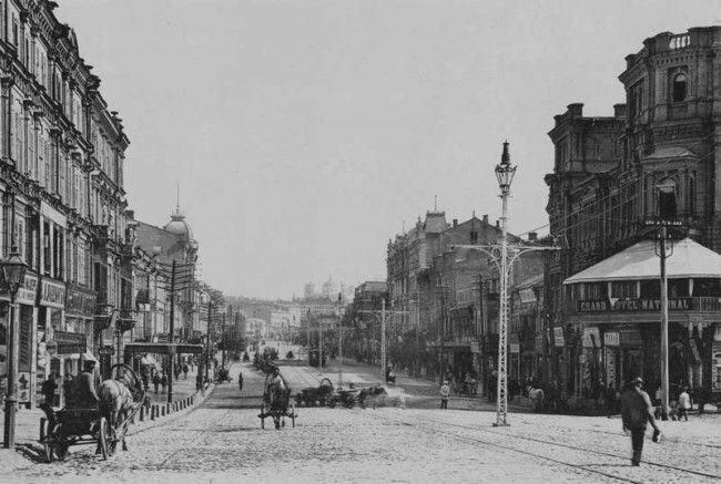 Крещатик в Киеве в конце XIX века