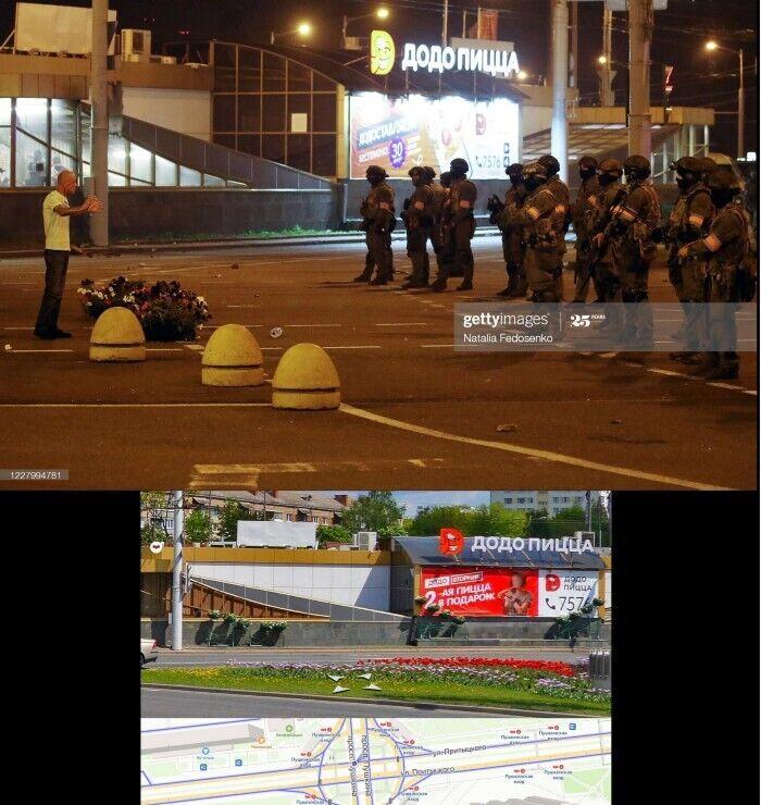 Бойцы с оружием возле места гибели протестующего.