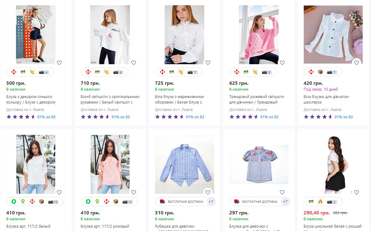 Сколько стоят школьные блузки