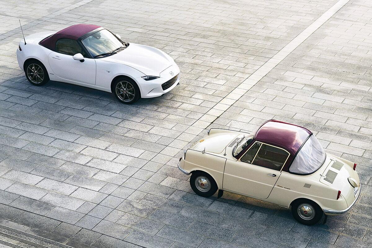 Mazda MX-5 100th Anniversary и Mazda R360 Coupe. Фото: