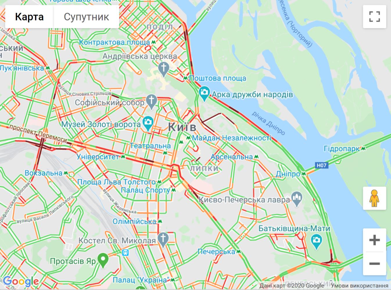 Пробки в центре Киева