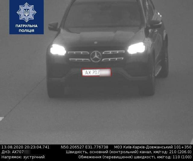 За тиждень камери зафіксували 195 автомобілів, які рухалися зі швидкістю понад 169 км/год