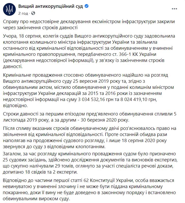Повідомлення пресслужби ВАКС