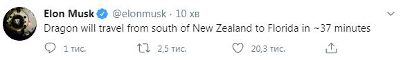 Dragon отправится с юга Новой Зеландии во Флориду через ~ 37 минут, написал Илон Маск