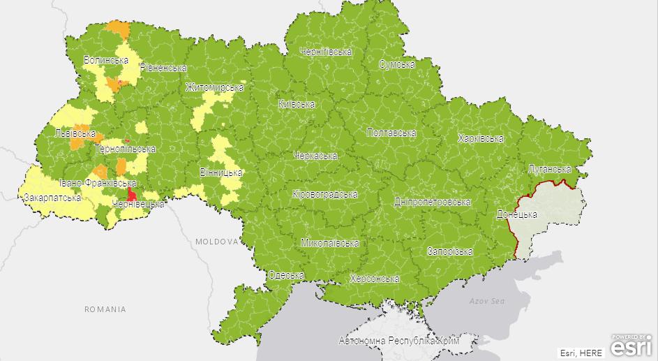 Визуализация эпидемических показателей на уровне районов и городов областного значения.