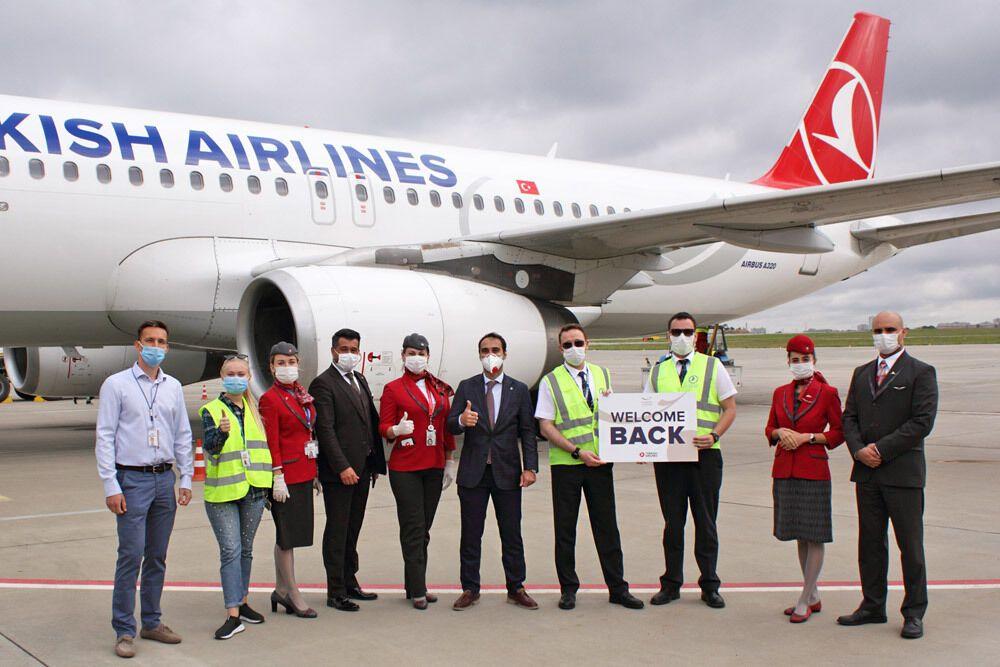 Встреча первого рейса Turkish Airlines в аэропорту Харькова