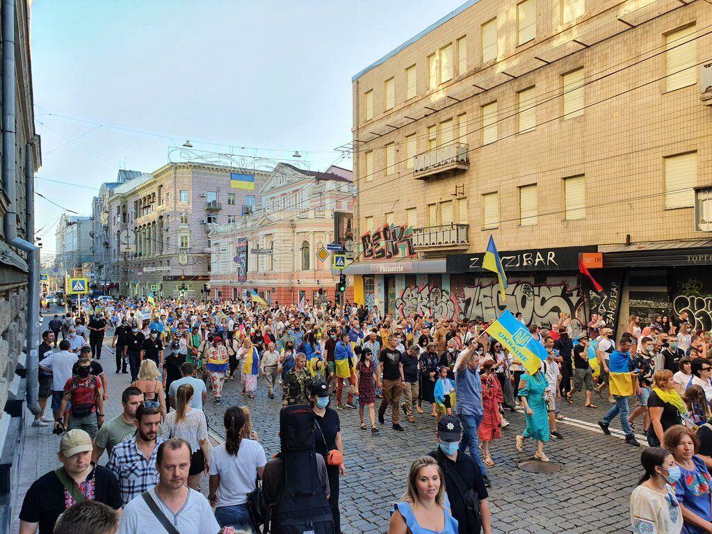 В Харькове на марш Независимости вышли сотни людей