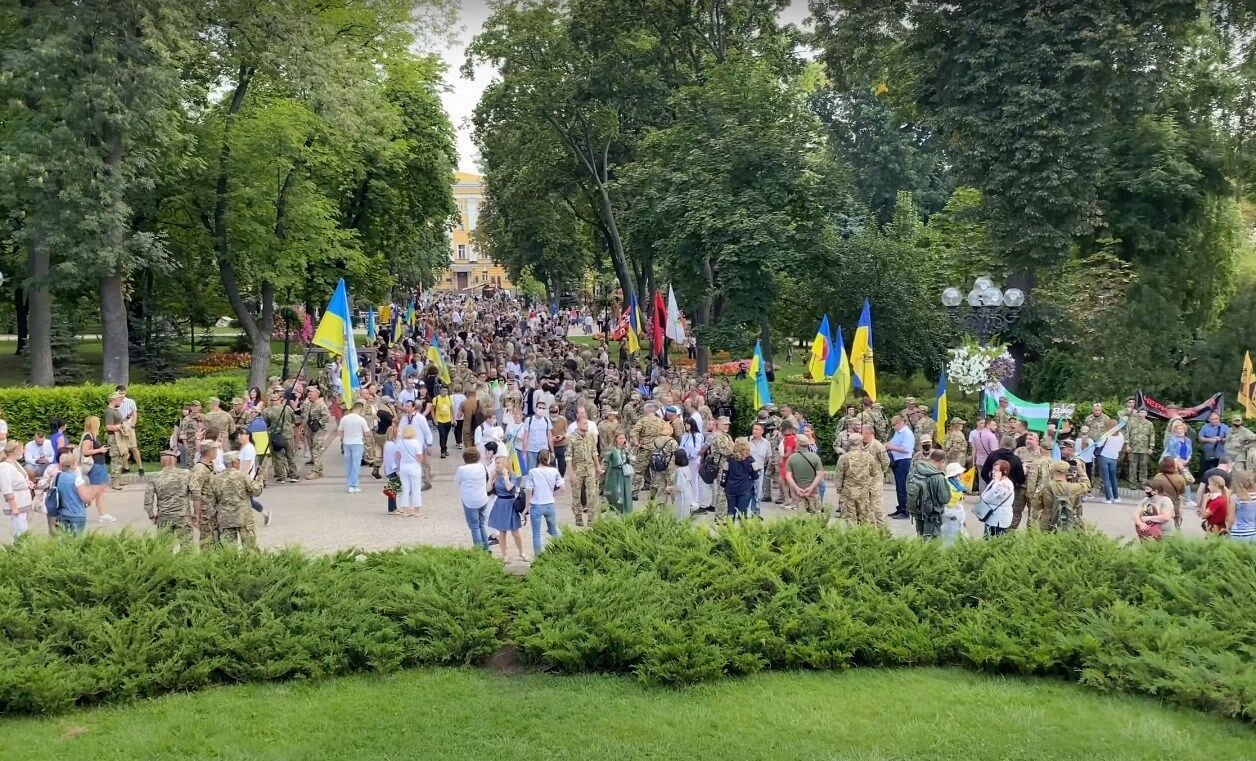 Учасники Маршу захисників збиралися в парку Шевченка в Києві.