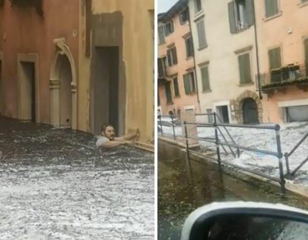 Людей смывало наводнением.
