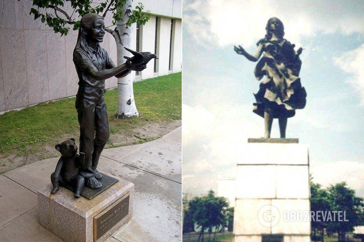 Памятник Саманте Смит в городе Огаста (штат Мэн, США), установленный 22 декабря 1986 года. А также памятник девочке в Москве, правда, до этого времени его якобы снесли