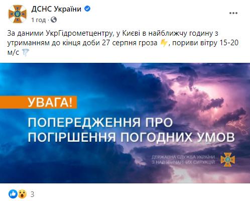 В Киеве испортится погода