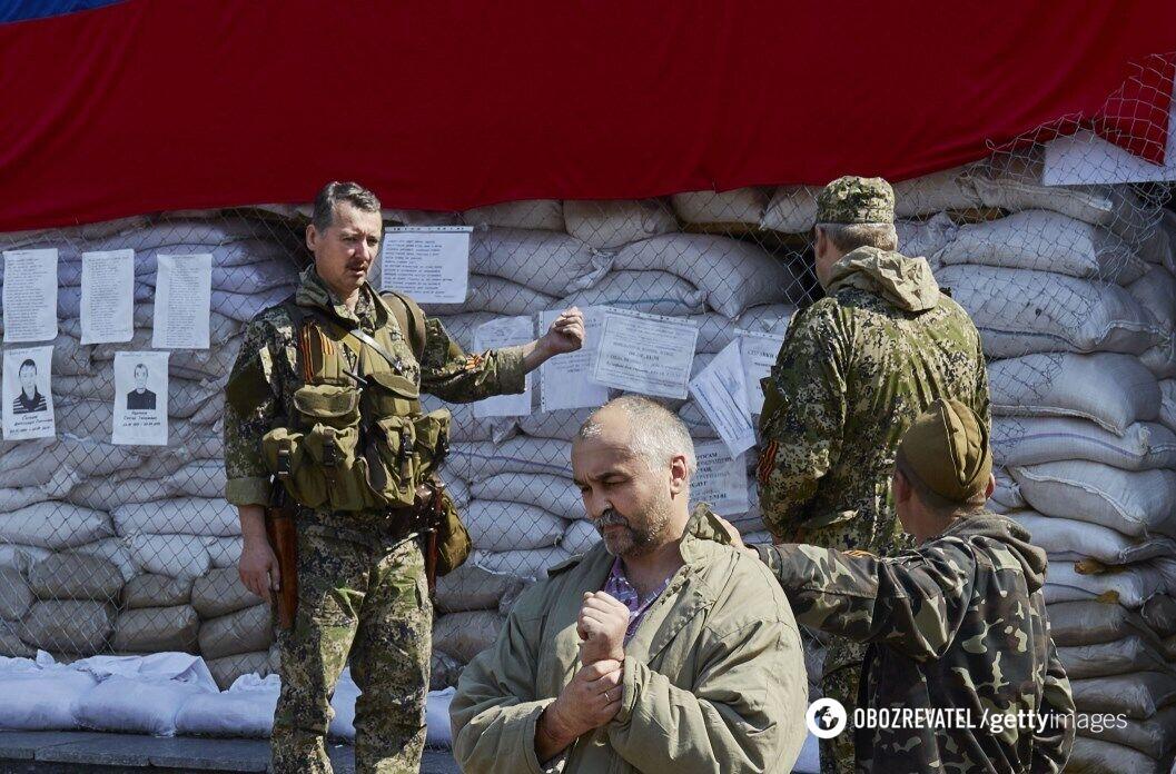 Ігор Гіркін (Стрєлков) в окупованому Слов'янську. 3 травня 2014 року