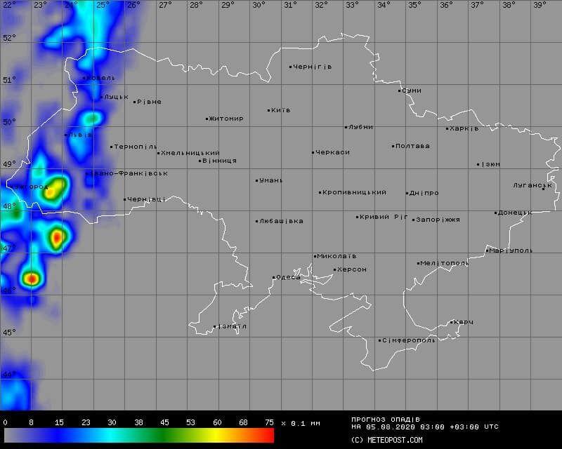 Вероятность дождей в Украине 5 августа