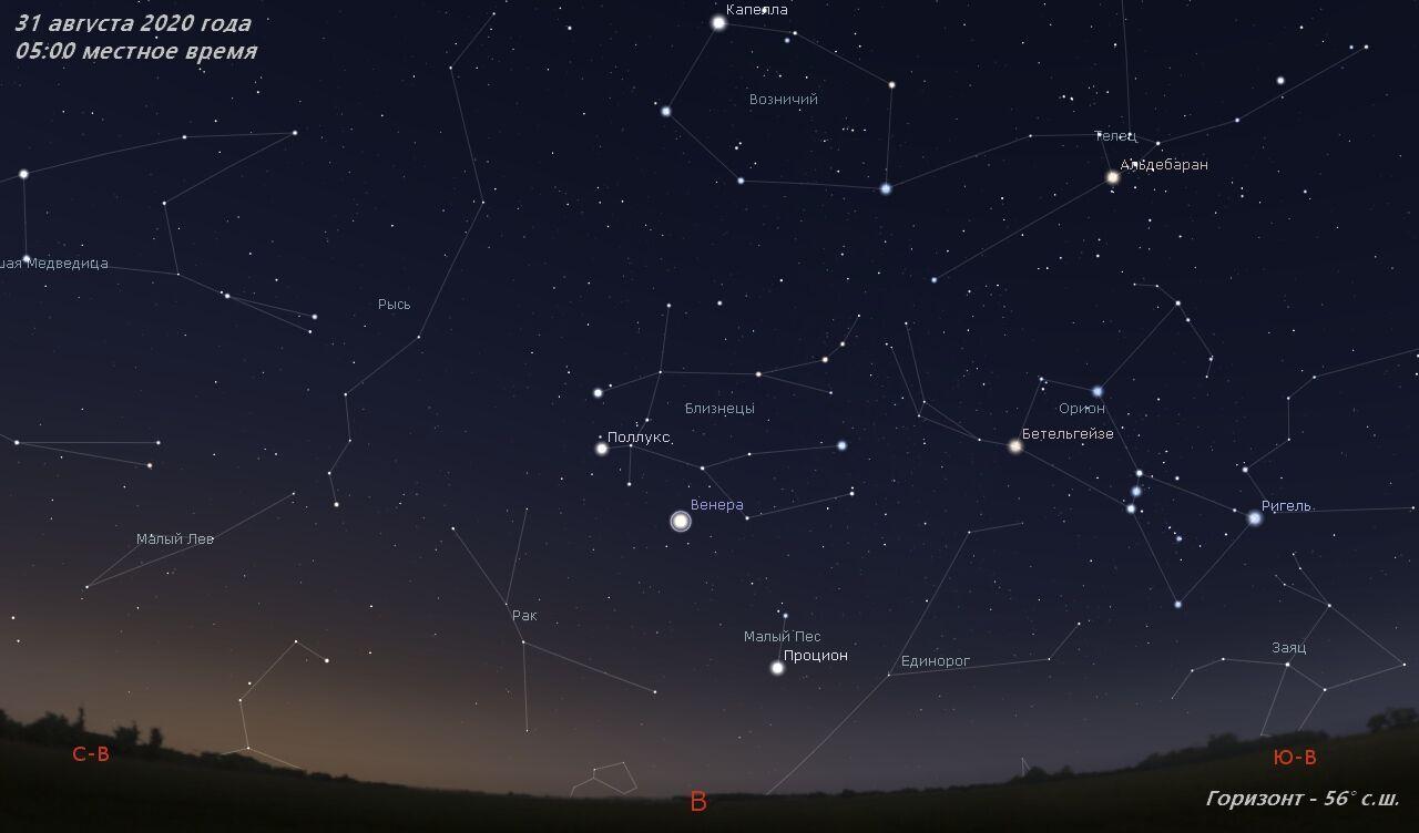 Карта зоряного неба в серпні 2020 року