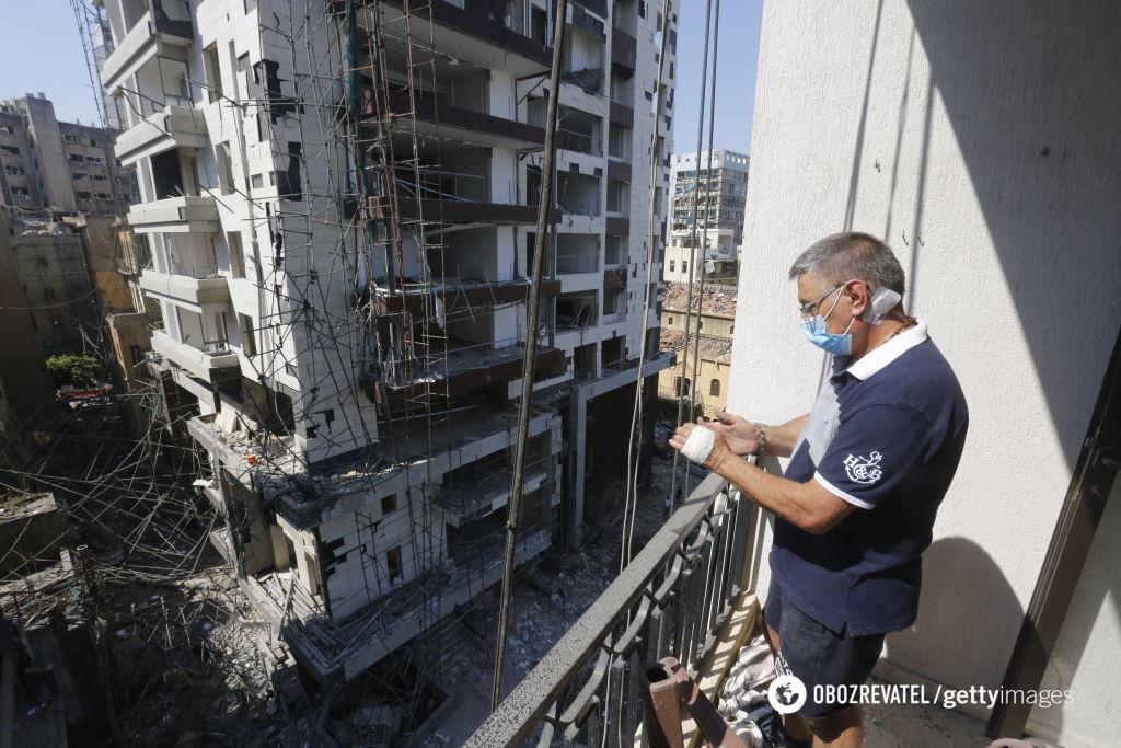 Поврежденные здания в Бейруте