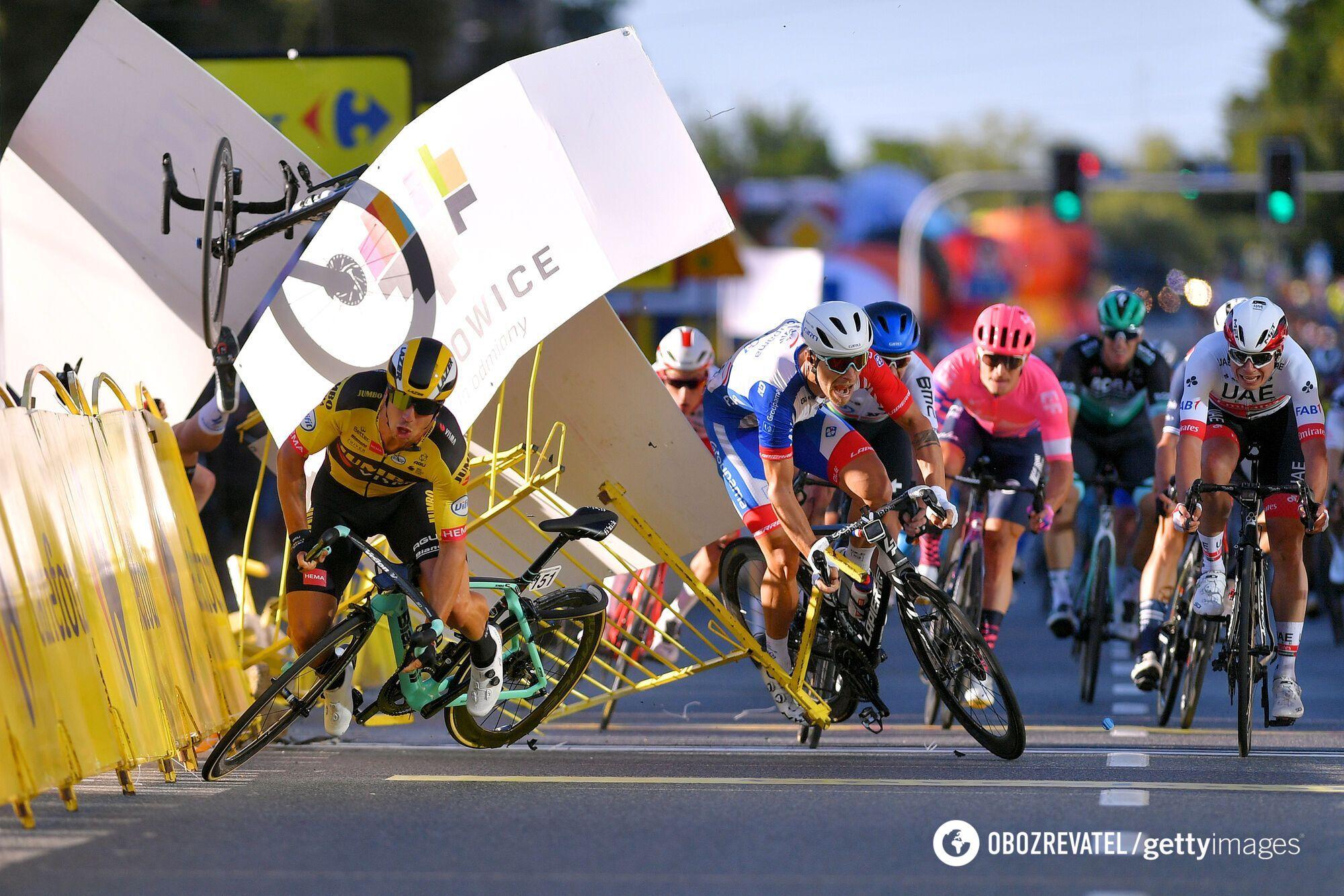 Велогонка Тур Польши: момент аварии на финише