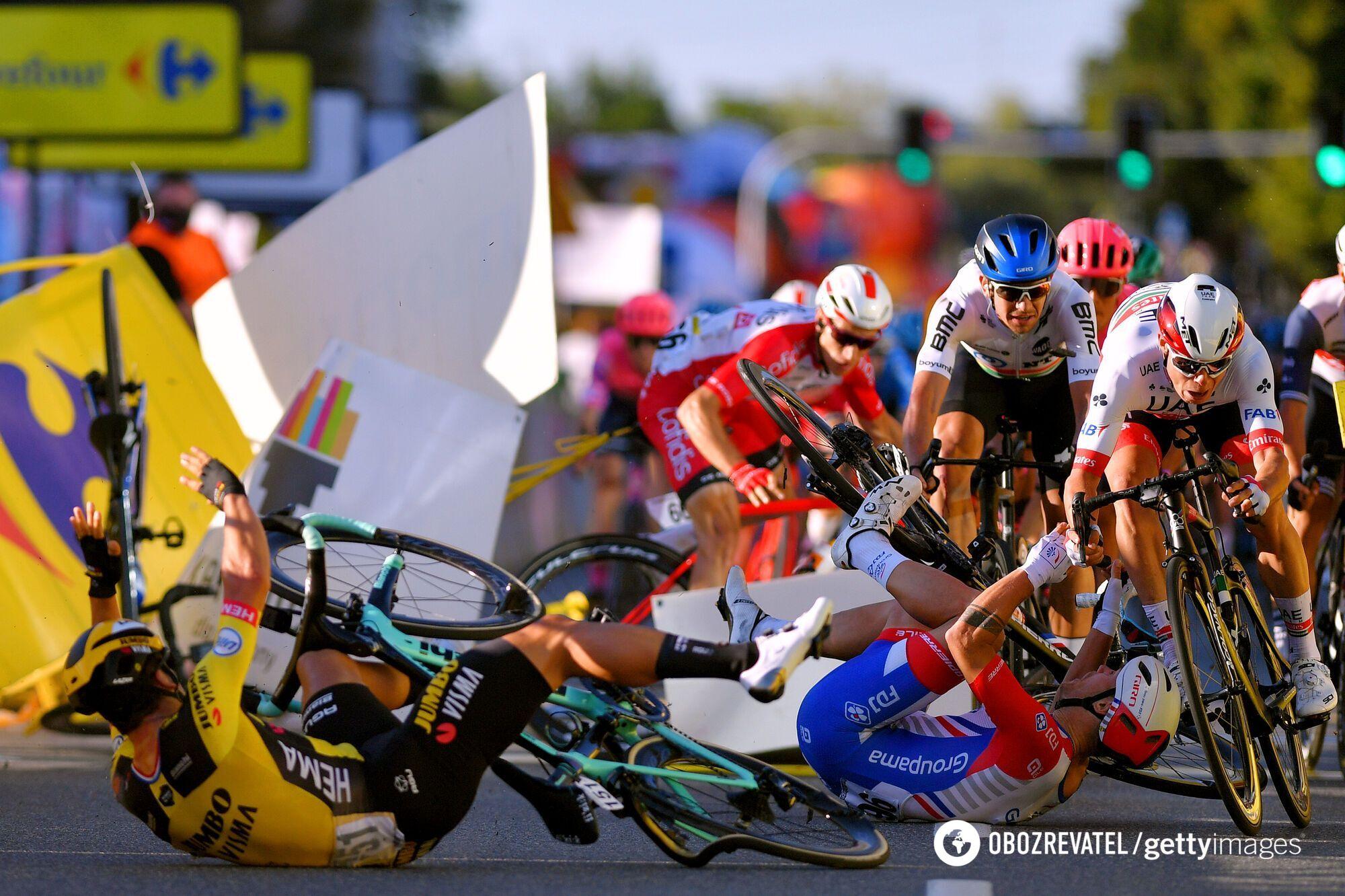 Велогонка Тур Польши: момент аварии