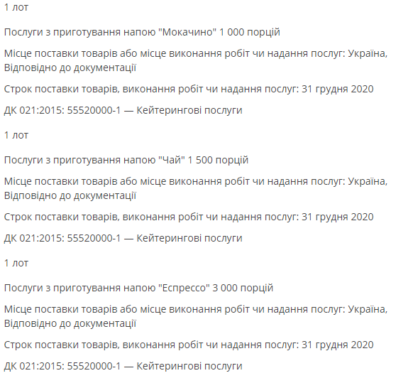 """Напій і кількість порцій, які закупили в """"Укроборонпромі""""."""