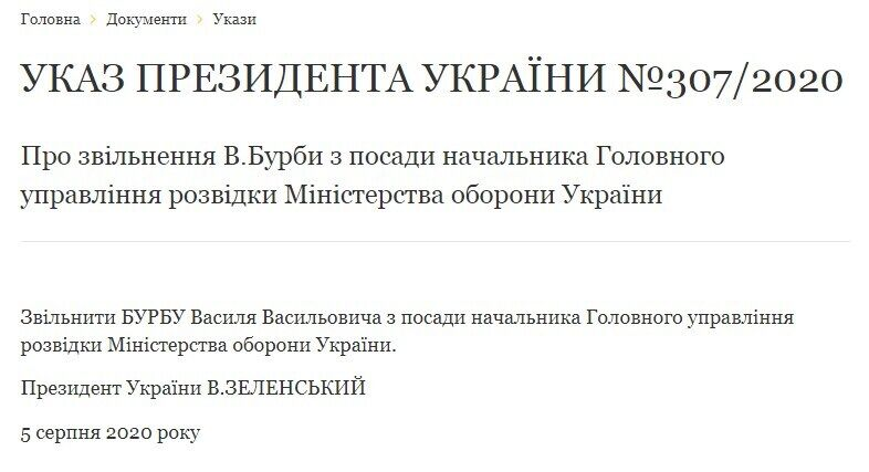 Зеленский уволил Василия Бурбу с должности главы ГУР