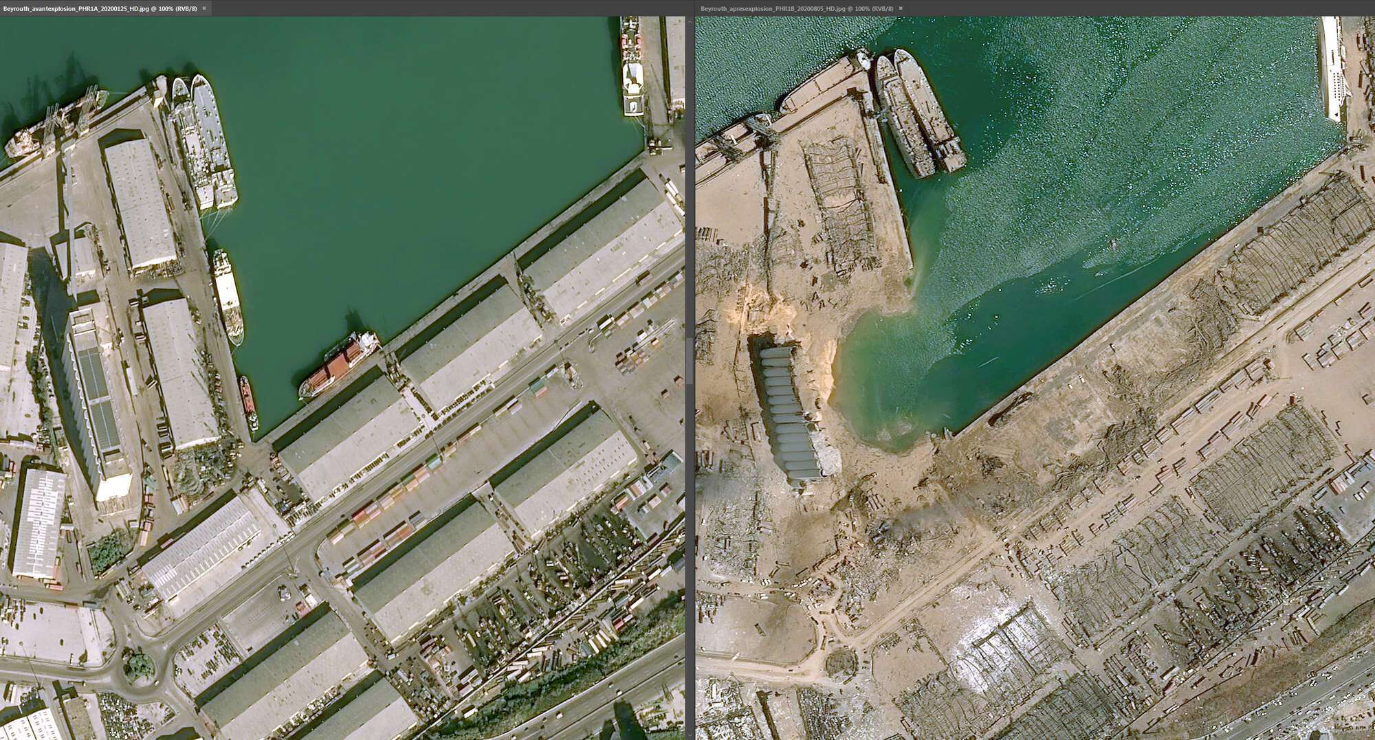 Порт Бейрута до и после трагедии 4 августа