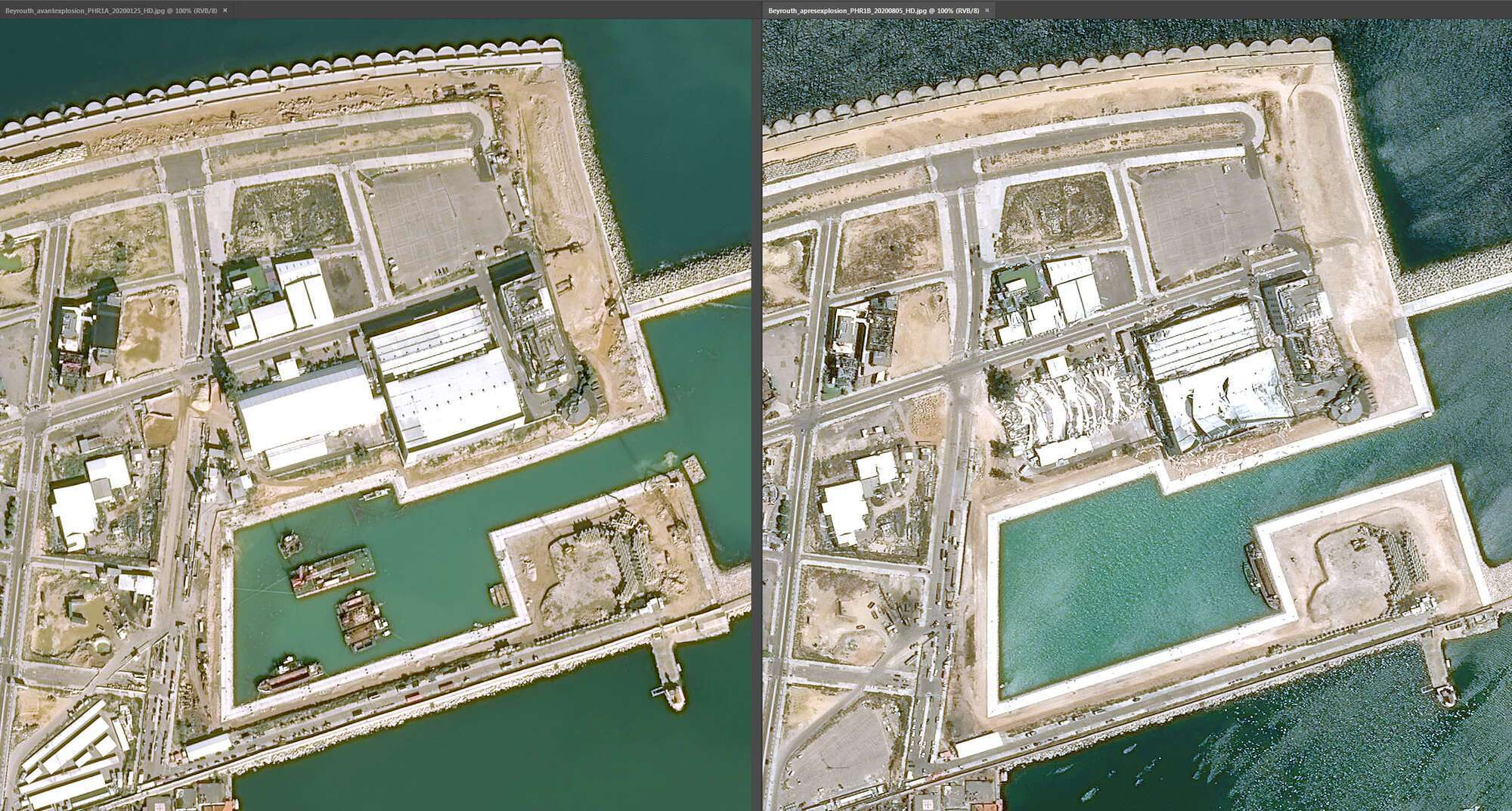Корабли в порту Бейрута опрокинуты или выброшены на берег