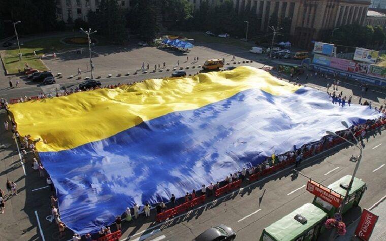 Самый большой флаг Украины в Днепре, 2016 год