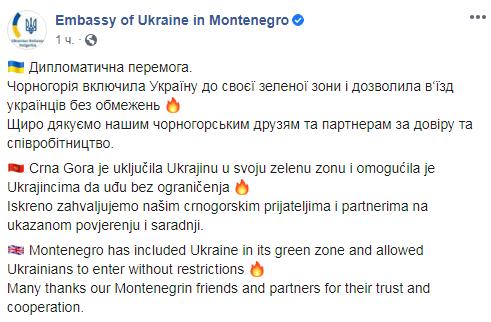 Чорногорія дозволила українцям в'їзд до країни без обмежень