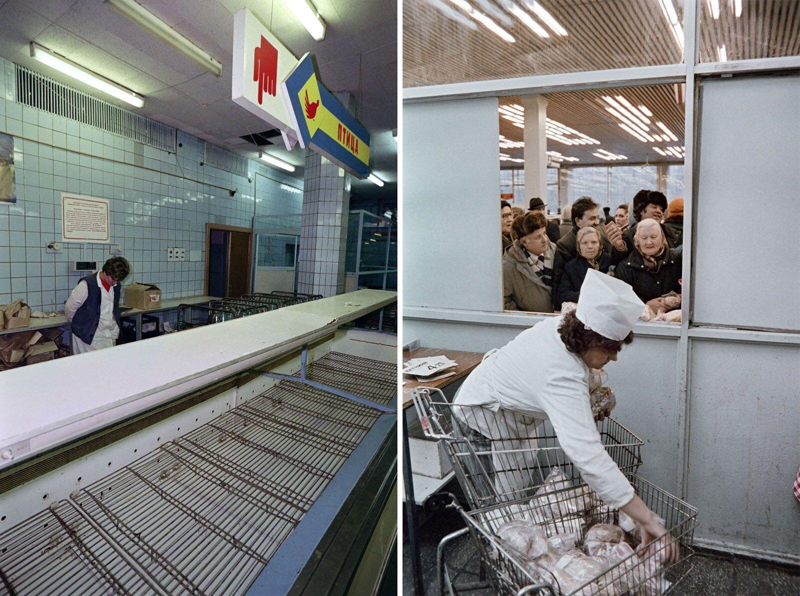 Пенсионеры, отдавшие СССР свои лучшие годы, были вынуждены душиться в очередях и показывать паспорта, чтобы купить кусок замороженного мяса