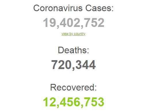 Коронавирусом заразились более 19,4 млн человек в мире