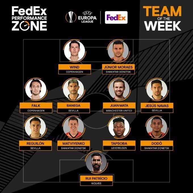 Додо, Матвієнко і Мораес увійшли до команди тижня Ліги Європи
