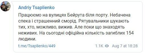 Telegram Андрія Цаплієнка